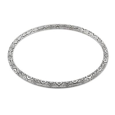 Sterling silver bangle bracelet, 'Diamond Saga' - Diamond Motif Sterling Silver Bangle Bracelet