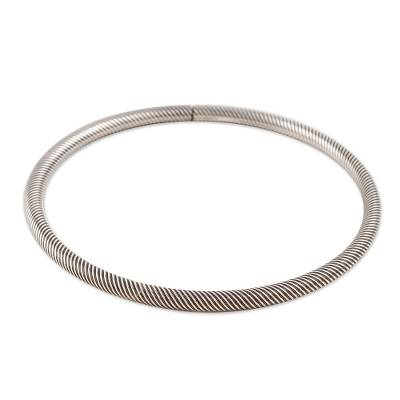 Sterling silver bangle bracelet, 'On the Same Wavelength' - Wavy Sterling Silver Bangle Bracelet from India