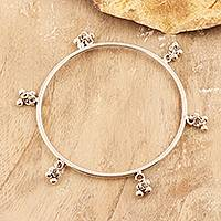 Sterling silver bangle bracelet, 'Ghungru Bliss' - Sterling Silver Bangle Bracelet with Tiny Bells