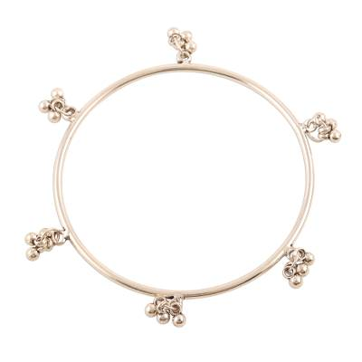 Sterling silver bangle bracelet, 'Ghungru Bliss' - Sterling Silver Bangle Bracelet with Tiny Bells