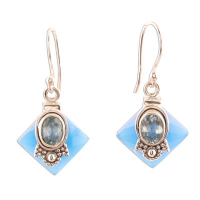 Chalcedony and Blue Topaz Earrings from Indian Artisan