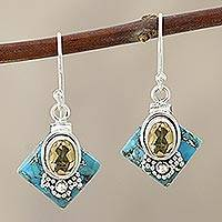 Citrine dangle earrings, 'Kolkata Gold' - Citrine Dangle Earrings in Sterling Silver