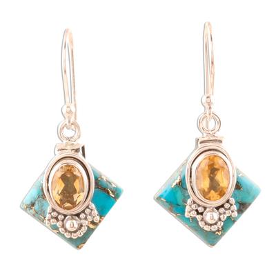 Citrine Dangle Earrings in Sterling Silver
