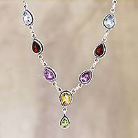 Multi-gemstone pendant necklace, 'On the Bright Side' - Multi-Gemstone and Sterling Silver Necklace