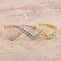 Sterling silver and gold plated stacking rings, 'Leafy Crown' (set of 3)
