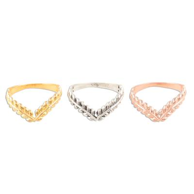 Sterling silver and gold plated stacking rings, 'Leafy Crown' (set of 3) - Gold Plated Sterling Silver Ring Trio with Leafy Crown Motif