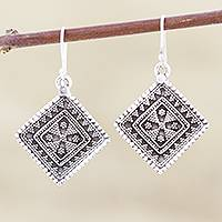Sterling silver dangle earrings, 'Rawa Tradition'