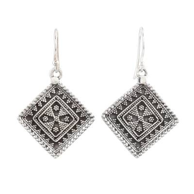 Sterling silver dangle earrings, 'Rawa Tradition' - Traditional Indian Motif Sterling Silver Dangle Earrings