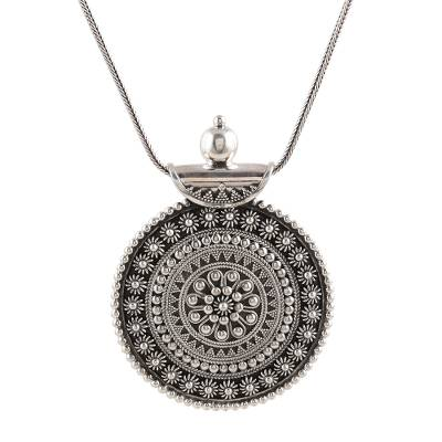 Sterling silver pendant necklace, 'Sikandra Splendor' - Sterling Silver Indian Style Pendant Necklace