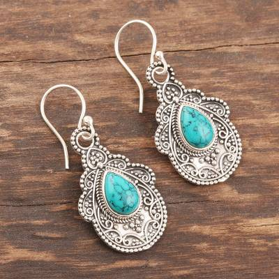 Sterling silver dangle earrings, 'Agra Aesthetic' - Oxidized Silver and Reconstituted Turquoise Earrings