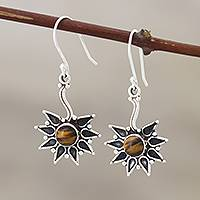 Tiger's eye dangle earrings, 'Shooting Star' - Sterling Silver and Tiger's Eye Dangle Earrings