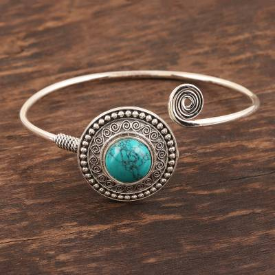 Sterling silver cuff bracelet, 'Agra Adventure' - Ornate Sterling Cuff with Reconstituted Turquoise