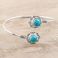 Sterling silver cuff bracelet, 'Agra Alignment' - Sterling Silver Cuff Bracelet from India