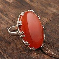 Carnelian cocktail ring, 'Fiery Pool' - Carnelian and Sterling SIlver Cocktail Ring