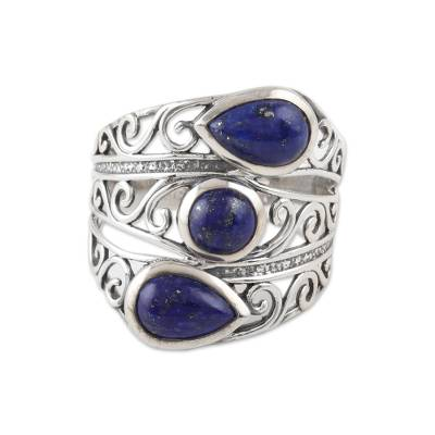 Lapis lazuli cocktail ring, 'Coming and Going' - Three Stone Lapis Lazuli and Sterling Silver Cocktail Ring