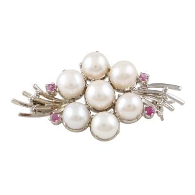 Feminine Cultured Pearl and Ruby Brooch Pin