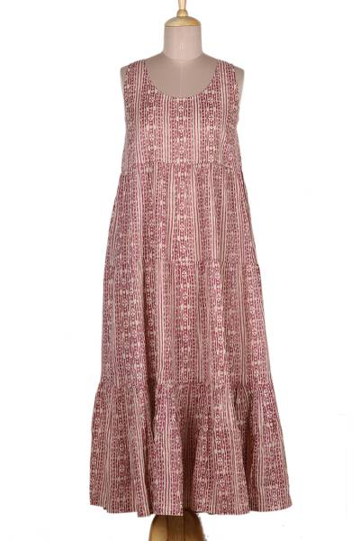 Sleeveless Cotton Maxi Dress in Berry and Wheat
