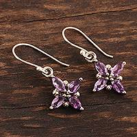 Amethyst dangle earrings, 'Twinkling Lilac' - Two Carat Amethyst and Sterling Silver Dangle Earrings