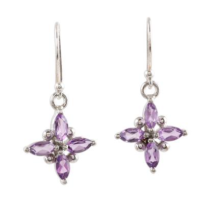 Amethyst dangle earrings, 'Twinkling Lilac' - Two Carat Amethyst and Sterling Silver Dangle Earrings