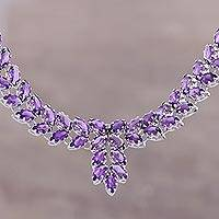 Amethyst pendant necklace, 'Treasured Garland' - Amazing 25 Carat Amethyst Pendant Necklace from India