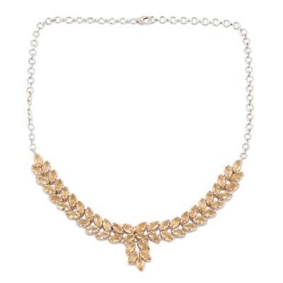Citrine pendant necklace, 'Treasured Garland' - Pendant Necklace with 25 Carats of Citrine