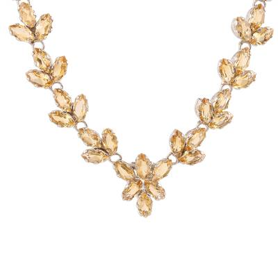 Citrine pendant necklace, 'Gujarat Princess' - Thirty Carat Citrine Gemstone Necklace