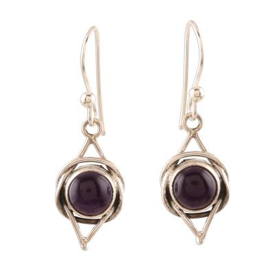 Amethyst dangle earrings, 'Intricate Twirl in Purple' - Amethyst and Sterling Silver Earrings from India