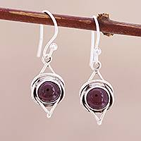 Garnet dangle earrings, 'Intricate Twirl in Crimson' - Natural Garnet Cabochon and Sterling Silver Earrings