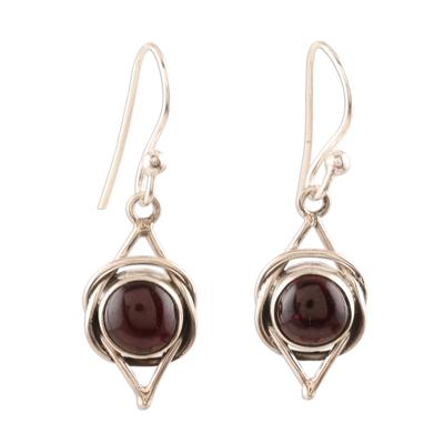Garnet dangle earrings, 'Intricate Twirl in Crimson' - Natural Garnet Cabochon and Sterling Silver Earrings