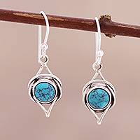 Sterling silver dangle earrings, 'Intricate Twirl in Turquoise'