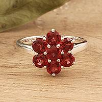 Garnet cocktail ring, 'Treasured Flower' - Floral Garnet Cocktail Ring from India