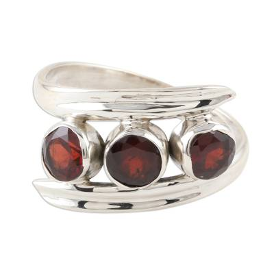 Triple Garnet and Sterling Silver Cocktail Ring
