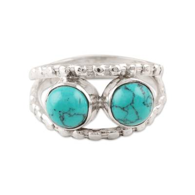 Reconstituted Turquoise and Sterling Silver Cocktail Ring