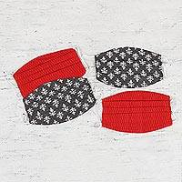 Cotton face masks, 'Contempo Color' (set of 4) - 2 Red/2 Grey Pleated 2-Layer Cotton Elastic Loop Face Masks