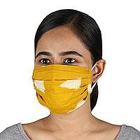 Cotton face masks, 'Goldenrod Sky' (set of 3) - 3 Yellow Double Layer Pleated Cotton Elastic Loop Face Masks