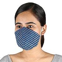 Cotton face masks, 'Royal Style' (pair) - 2 Lapis Blue 2-Layer Contoured Cotton Elastic Loop Face Mask