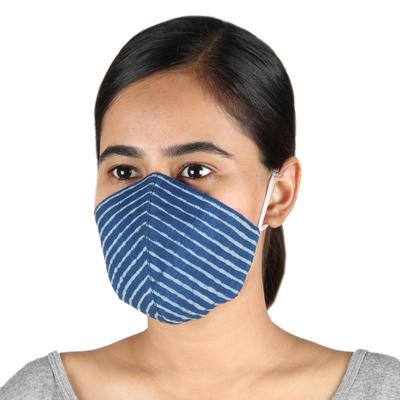 Cotton face masks, 'Royal Style' (pair) - 2 Lapis Blue 2-Layer Contoured Cotton Elastic Loop Face Mask