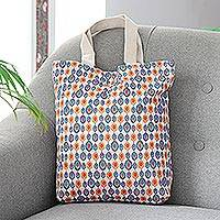 Cotton canvas printed tote, 'Floral Field' - Petite Floral Patterned Tote Bag with Magnetic Snap Closure