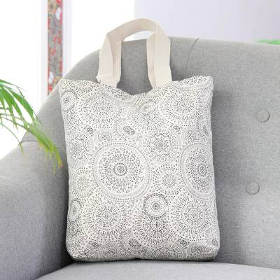 Cotton canvas tote, 'Spherical Creativity' - Black and White Cotton Canvas Tote with Magnetic Snap