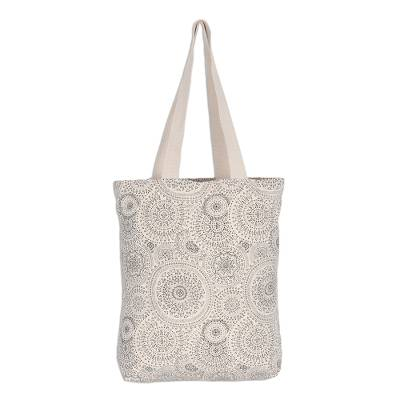 Black and White Cotton Canvas Tote with Magnetic Snap