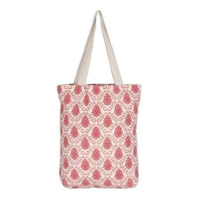 Cotton Canvas Screen Printed Tote with Magnetic Snap Closure