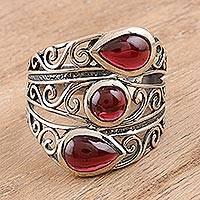 Garnet cocktail ring, 'Coming and Going' - Multi-Stone Garnet Cocktail Ring from India