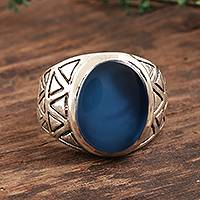 Men's chalcedony ring, 'All the Angles' - Blue Chalcedony and Sterling Silver Men's Ring