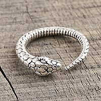 Sterling silver wrap ring, 'Snake Charming' - Sterling Silver Snake Wrap Ring