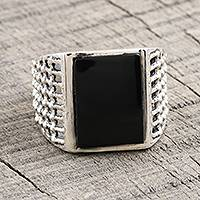 Men's onyx ring, 'Power Grid' - Men's Sterling Silver Ring with Onyx