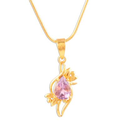 Gold plated amethyst pendant necklace, 'Bengal Blossom' - 14k Gold Plated Pendant Necklace with Amethyst