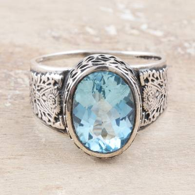 Men's blue topaz ring, 'Magnificent Glitter' - Men's Blue Topaz and Sterling Silver Ring