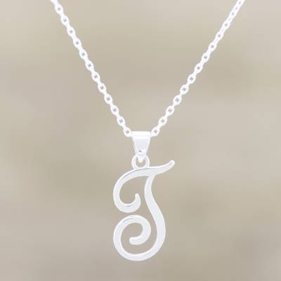 Sterling silver pendant necklace, Dancing T