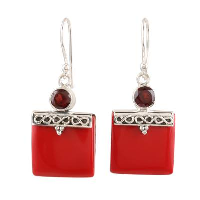 Red Calcite and Garnet Silver Dangle Earrings