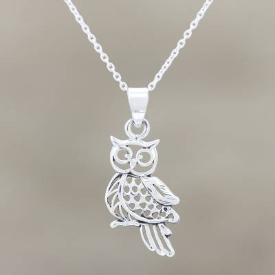 Sterling silver pendant necklace, 'Jali Owl' - Owl Pendant Necklace Handmade in India